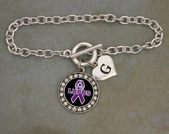 Custom Initial Lupus Awareness Bracelet