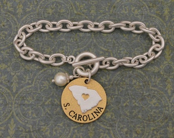South Carolina Love Toggle Bracelet with Pearl Accent - 22716
