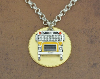 School Bus Gold Disk Necklace