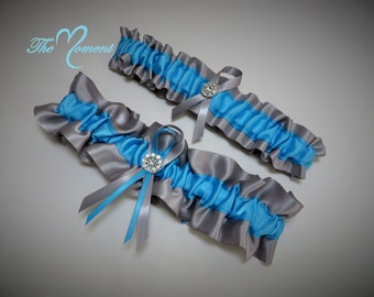 Silver and Turquoise Garter Set, Turquoise and Silver, Ribbon Garter, Prom Garter, Bridal Garter, Wedding Garter, Turquoise Garter