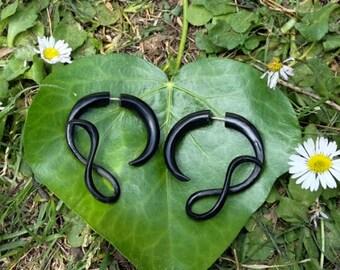 Infinity Symbol Black Horn w Silver Fake Gauge Tribal Earrings