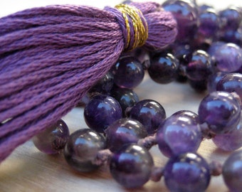Amethyst Mala Beads, Knotted Mala 108, Japa Mala Necklace, Amethyst Mala Prayer Beads for Deeper Meditation & Sobriety