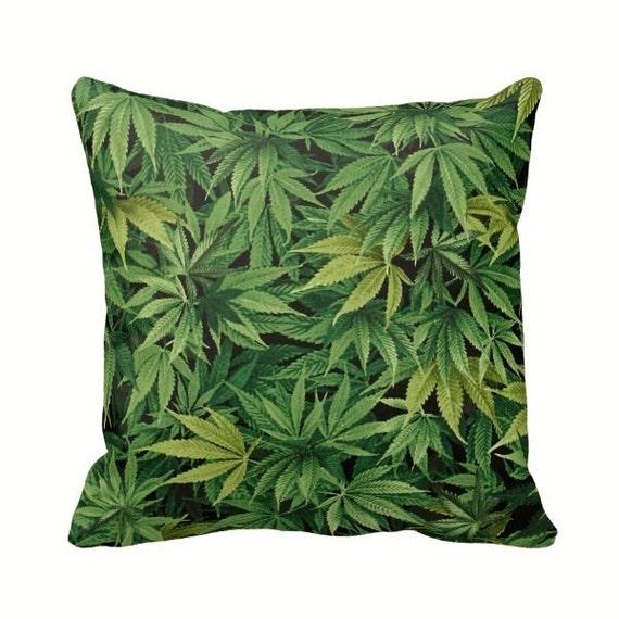 Cannabis Marijuana Leaf Zippered Throw Pillow Case Medicinal