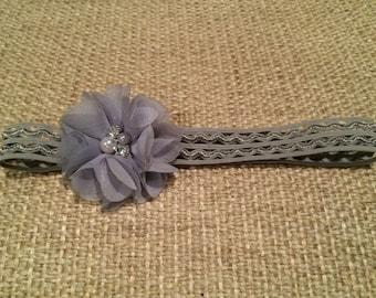 Grey Cut-Out Elastic Headband with Grey Shabby Chic Chiffon Flower w Faux Pearl and Rhinestone Center