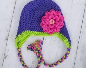 little girl flower hat baby girl hat toddler girl hat earflap flower hat