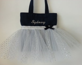 Navy Blue, Personalized , Flower Girl Tutu Bag, Now available in 3 sizes!