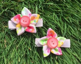 Button Flower Hair Clips - Small Pair