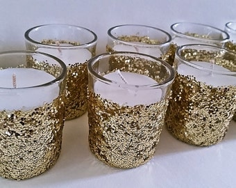 25 candle holders,  gold votives, candle holders for wedding, candle holder centerpiece, votive candle, votive, glass candle holder, wedding
