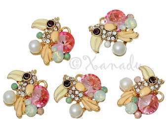 Parrot Enamel Pendant Charms - 2/5/10 Wholesale Gold Plated Rhinestone Jewelry Findings C3189