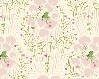 Frog Fabric Far Far Away - Frogs in Pink by Heather Ross - 1/2 Yard