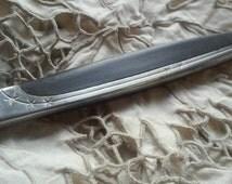 Eames Era Japan Stainless Black Molded Handle,3 Starburst Flatware dinner knife,black handled vintage flatware mar crest style atomic knife