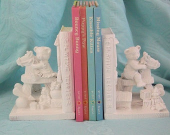 White shabby chic teddy bear bookends  Rocking horse bookends  Children's bookends Nursery bookends Shabby chic bookends Vintage bookends