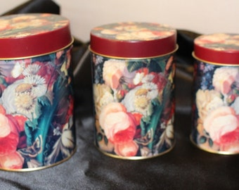 Vintage Tins Set of Three Matching Tins Rose and Flowers Pattern
