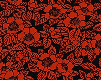 """Lacquered Yuzen Washi Paper - Camellia Pattern - Red and Black - 25"""" x 37"""""""