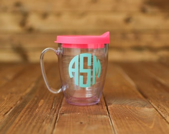 Tervis coffee mug with lid. Personalize with name or monogram.