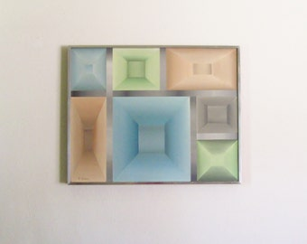 Original Hard Edge Geometric Acrylic Painting