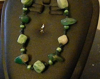Green Stones on Hemp Cord