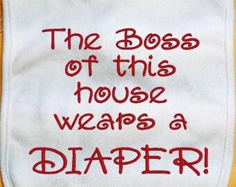 Embroidered Baby Bib, The Boss Baby Bib, custom baby bib, infant bib, boy bib, girl bib, cotton baby bib
