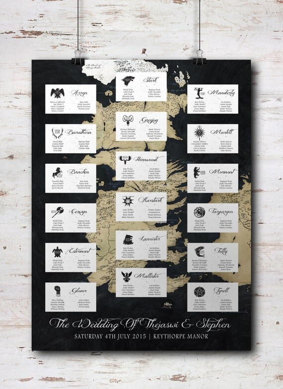 Game of Thrones Inspired Wedding Table Plan & by ...