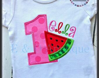 Watermelon Birthday 1 Applique - Watermelon Applique - Summer Birthday Applique - Birthday Applique