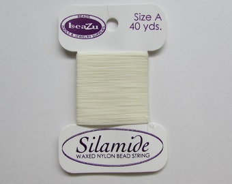 40yds - Silamide Waxed Nylon Thread - Size A - Natural