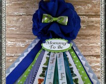 Bow Tie Mommy To Be Corsage Blue Bowtie Baby Shower