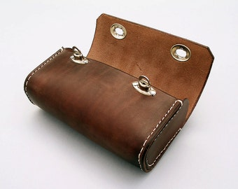 Large Bicycle Leather Seat Tool Bag, handstitched genuine leather, waxed thread, nickel plated fittings,