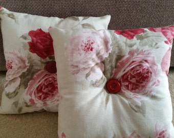 Shabby Chic Floral Buttoned Cushion