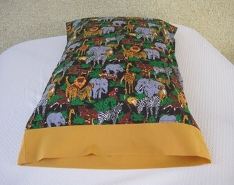 Pillowcase, Pillow case, Children's bedding, Jungle bedding, Jungle animals, Children's Pillowcase, Jungle Pillowcase, Jungle Adventures