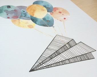 Fly Paper Plane, Fly! wall art | kids art | illustration | poster | nursery art | modern art
