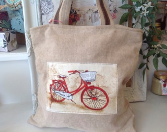 Beige canvas tote handbag with bicycle motif WAS 28.00 NOW 21.00