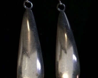 1970's Navajo Stamped 'Rivera's Sterling' Silver Dangle Post Earrings, 7g