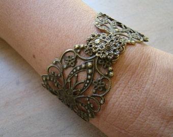 bronze metal lace bracelet