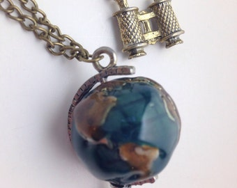 Antique Gold Globe and Binoculars Necklace