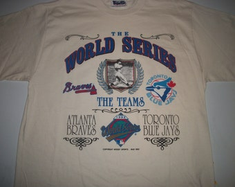 WORLD SERIES 1992 t shirt Toronto Blue Jays Atlanta Braves
