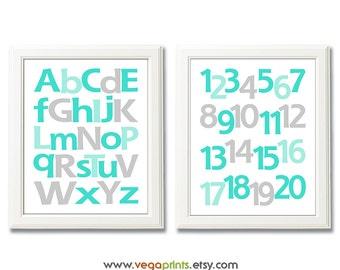 Aqua and gray Alphabet and numbers art print - UNFRAMED - aqua, grey, nursery wall art, kids room decor, 123, abc, baby boy room wall art