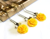 SET of 3 Yellow Rose Necklace,Yellow Pendant, Personalized Initial Disc Necklace, Rose Charm, Bridesmaid Necklace, Yellow Bridesmaid Jewelry