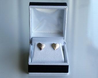 Heart stud earrings - handmade in solid silver