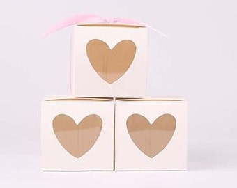 White Favor Box With Heart Shaped Window (set of 2)