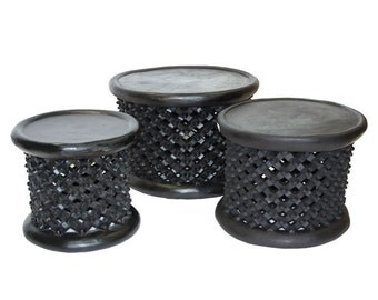 "African Bamileke Stool from Cameroon Spider Pattern Size: 22""X22""X18"" High Bamileke Table"
