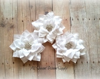 Satin Mesh Flowers - White - Chiffon Shabby Flowers- With Rhinestone Crystal Center- Flat Back- DIY- Flowers