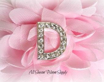 """Letter """"D"""" Crystal Rhinestone Button - Rhinestone Button - Acrylic Rhinestone -  23 mm"""
