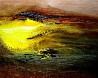 Fly Me To The Dream-Oil Abstract-Big Brown Yellow Original Painting