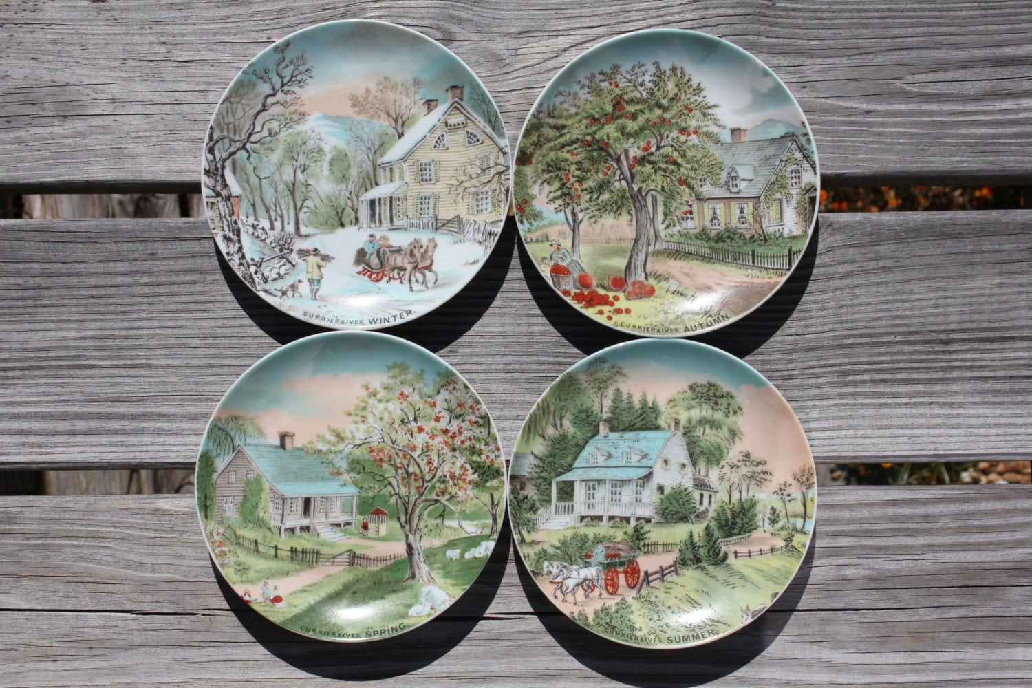 Decorative Wall Plates Set Of 4 : Set of decorative plates currier and ives from