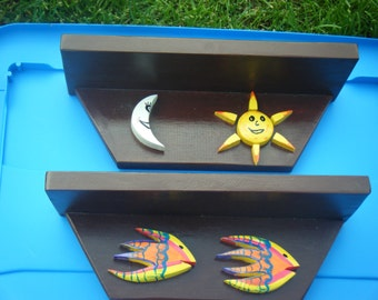 Childrens wall shelves made of reclaimed wood