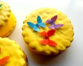 "24 Small Assorted Set of Edible Wafer Paper Mini Butterflies 3/4""X7/8"" each Pre Cut Decorations Cakes Macaron Cookies Cake Garnish Desserts"