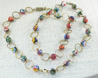 Vintage Venetian Millefiori Bead Necklace with Open Gold Circles