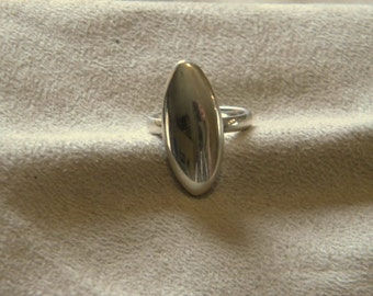 Sterling Silver Long Ring - Size 8 1/2