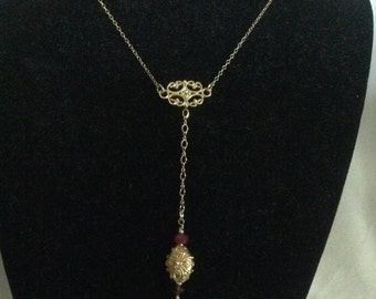 Ruby and Bali bead necklace