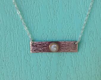Sterling moonstone bar necklace
